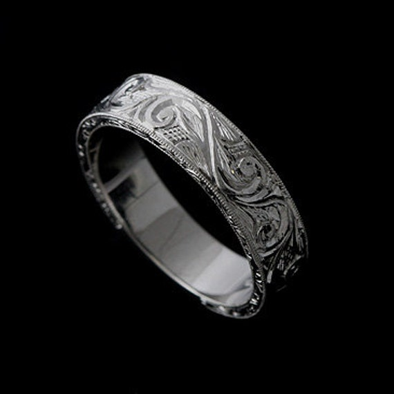 Men S Engraved Ring Art Deco Men S Wedding Band Hand Etsy