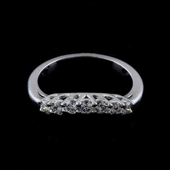 Vintage Style White Gold Wedding Band Curved Milgrain Wedding Ring Contour Wedding Ring 3mm Engraved Wedding Ring V Pointed Wedding Ring