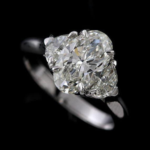 Stuller Three Stone Side Stones: Three Stone Ring Setting Oval Cut Engagement Ring Half