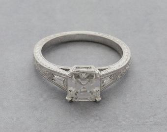 Art Deco Engagement Ring, Baguette Diamond Ring, Hand Carved Milgrain Ring, Vintage Style Ring, Asscher Cut 14K Gold Platinum Ring Setting
