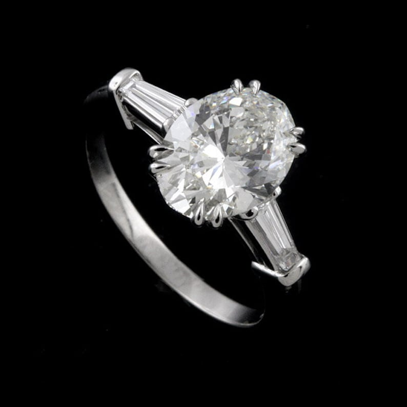 cc9e0d62cb11 Oval Cut Ring Setting Tapered Baguette Enagagement Ring
