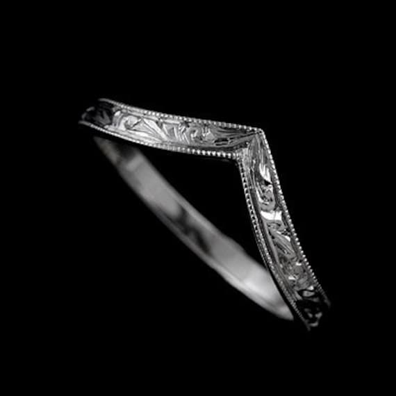 V Pointed Wedding Ring Engraved Wedding Ring Vintage Style
