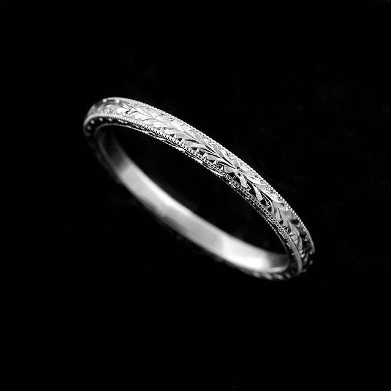 Art Deco Band Thin Engraved Platinum Wedding Ring Skinny Stacking Wedding Ring Stackable Art Deco Wedding Ring 16mm