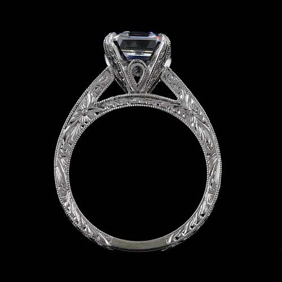 Cathedral Vintage Style Reproduction Diamond Asscher Hand ...