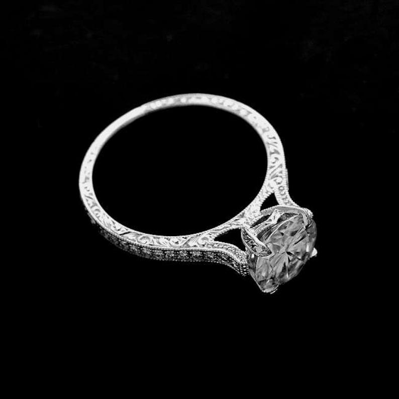 226d5beb251b47 2CT Moissanite Engagement Ring Vintage Hand Engraved Ring | Etsy