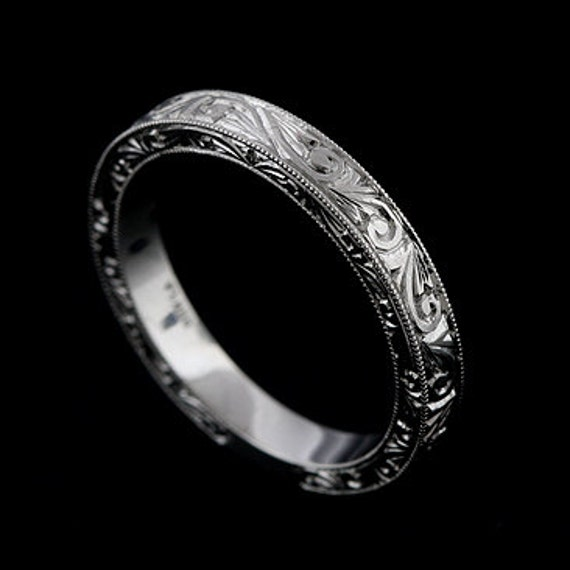 Hand Engraved Wedding Ring Vintage Style Wedding Band Swirl Scroll Milgrain Flat Platinum Ring Art Deco Straight Womens Ring 32mm Wide