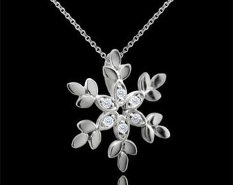 Diamond Snowflake Pendant, Winter Jewelry, Sparkly Snowflake, Christmas Holiday Pendant, White Gold Snowflake Cable Chain, Natural Diamonds