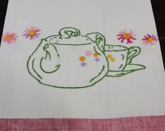 Hand Embroidered Cotton Tea Towel  Teapot and Cup and Saucer