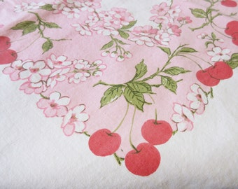 Vintage Cherry and Cherry Blossom Rectangle Tablecloth