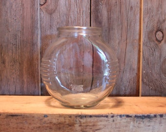 Glass Fish Bowl Mid Century Ribbed Small Fish Tank Round Circle Vintage 1950s 50s (K)