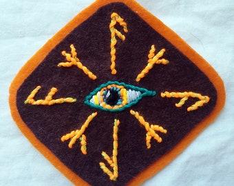 Odin's Eye Sigil Hand Embroidered Patch - all seeing eye, protective sigil, runes. Norse, mythology, magic, Ansuz, Algiz