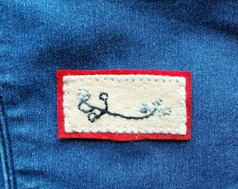 Ottastafur Hand Embroidered Patch - to put fear in your enemy, Galdrabok, Icelandic Magic, Norse Witchcraft, Norse Stave, Norse Pagan