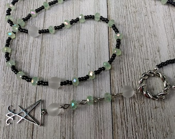 Lucifer Rosary with AB Pale Green Crystals and Frosted Clear Sea Glass-Style Beads, Satanic Witch Prayer Beads, Dark Academia, Luciferian