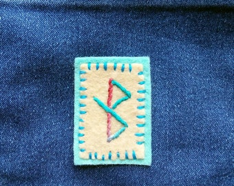 Healing Hand Embroidered Patch - to bring healing, restore health, Galdrabok, Icelandic Magic, Norse Witchcraft, Norse Stave, Norse Pagan