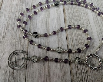 Lilith Rosary with Sigil of Lilith, Smoky Purple Crystals, and Black & Clear Crackle Glass Beads, Satanic Witch Prayer Beads, Dark Academia