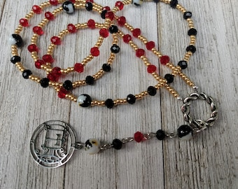 Demonic Rosary with Sigil of Orobas, Red and Black Crystals, and Black, White & Gold Marble-Style Glass Beads, Goetia, Dark Academia