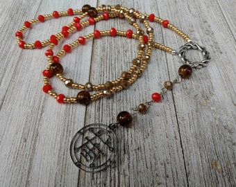 Demonic Rosary with Sigil of Ipos, Taupe & Bright Orange Crystals, and Amber Crackle Glass Beads, Satanic Witch Prayer Beads, Dark Academia
