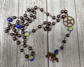 Artemis Pagan Rosary with Brown Glass Pearls and Blue and Green Spray Glass Beads,Witch Prayer Beads, Hellenic Rosary, Goddess Diana