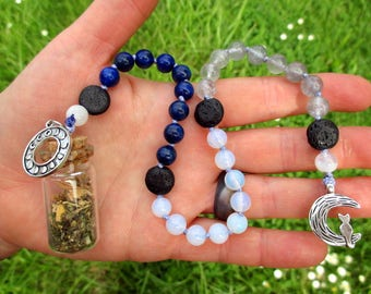 Dark Moon Magic Pagan Prayer Beads with Charm Bottle  - waning moon, new moon, banishing, setting intentions, reflecting, resting