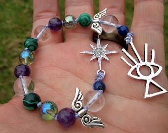 Lucifer Mini Prayer Strand - Pocket prayer beads, travel prayer beads, pagan prayer beads - fallen archangel and Morning Star