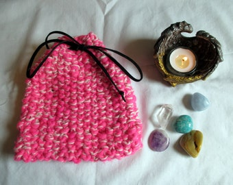Knit Tarot pouch   Tarot bag   knitted Tarot bag   rune pouch   oracle card bag   pink and cream Tarot bag   gift bag   charm bag