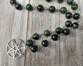 Fairy Star Necklace with Chunky Kambaba Jasper Beads, Witch Jewelry, Protection Jewelry, Beaded Choker, Statement Necklace