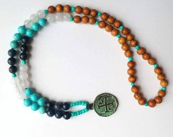 Pirate Treasure Lightweight Mala Style Beaded Necklace - Dumortierite, Natural Turquoise, Snow Quartz, & Rosewood