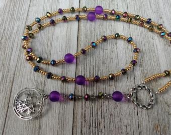 Demonic Rosary with Sigil of Astaroth, AB Purple/Green Rainbow Crystals, and Purple Sea-Glass Style Beads, Demonolatry, Dark Academia