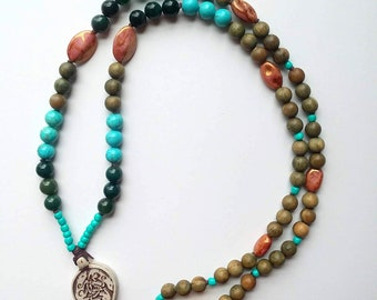 Celtic Boars Lightweight Mala Style Beaded Necklace - Natural Turquoise, Moss Agate, & Sandalwood