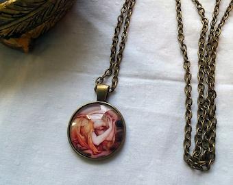 Demeter Portrait Pendant Necklace - 1inch (25mm) Glass Dome Cabochon Necklace
