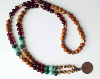 Lucky Coin Lightweight Mala Style Beaded Necklace - Moss Agate, Amazonite, Malachite, Amber, & Rosewood