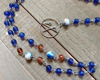 Archangel Michael Rosary with Royal Blue Sea Glass-Style & Burnt Orange Crackle Glass Beads, Angelic Prayer Beads, Pagan Jewelry