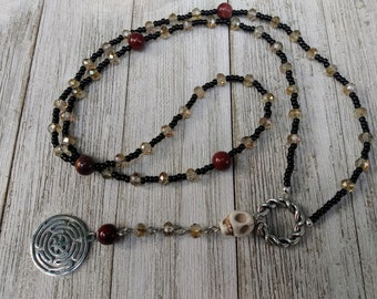Hekate Rosary with Champagne Crystals, Stone Skull, and Mookaite Jasper, Hellenic Prayer Beads, Witch Jewelry, Dark Academia
