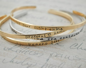 729bbd501c1 Custom Mantra Stackable Bracelet Brass, Copper, or Sterling Keepsake Secret Message  Personalized Cuff Ring