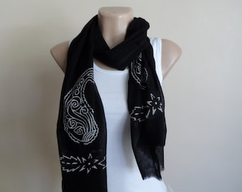 Black Mens Scarves, Women Scarves, Cotton Yemeni Scarf, Hand Stamped