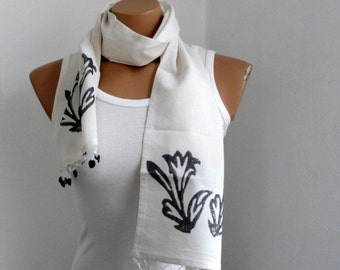 Natural Scarf, Women Scarf, Hand Stamp Cotton Scarf Cowl, Cream Scarf, Gift under 25, Gift for mom