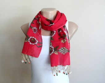 Coral Red Cotton Scarf for Womens, Yemeni Scarf with Crochet Embroidery Beaded Lace