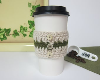 Coffee Cozy, Crocheted Cup Cozies, Cozy for To Go Cup, Cup Cozy with Buttons, Coffee Cup Cozies, Earthy Cup Cozy, Coffee Cup Sleeve