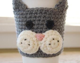 Cat Coffee Cozy, Grey Cat Coffee Cozy, Crochet Coffee Cozy, Animal Coffee Cozies, Crocheted Cat Cozy, Cat Cup Cozy, Feline Cozies for Cup