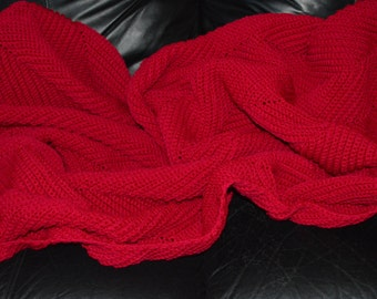 Large Crocheted Afghan in Rouge