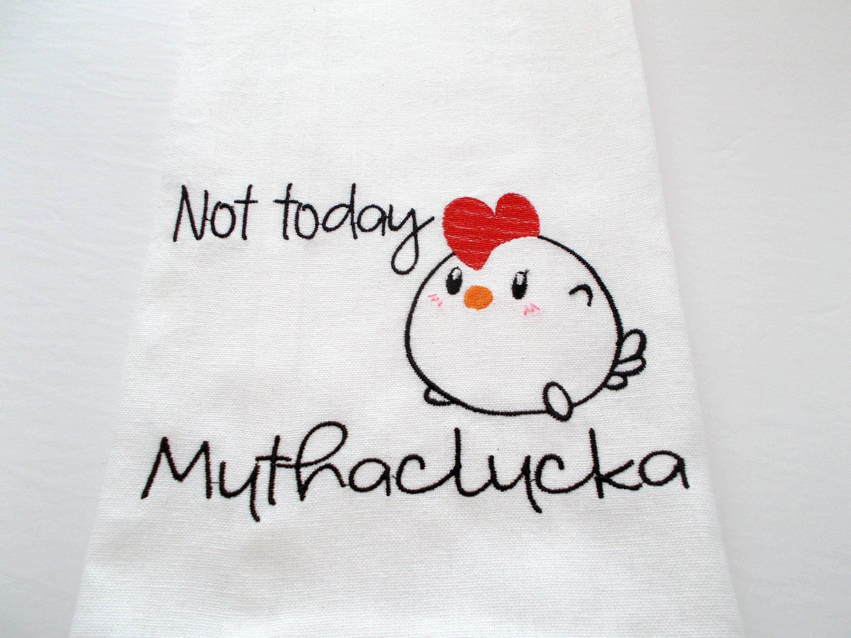 Farm Mother Clucking Kitchen Sarcastic Chicken Funny Chicken 15 dollar gift Machine Embroidered Kitchen Towel Farm Kitchen