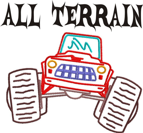All Terrain Outline Machine Embroidery Designs set truck colorline PES HUS JEF