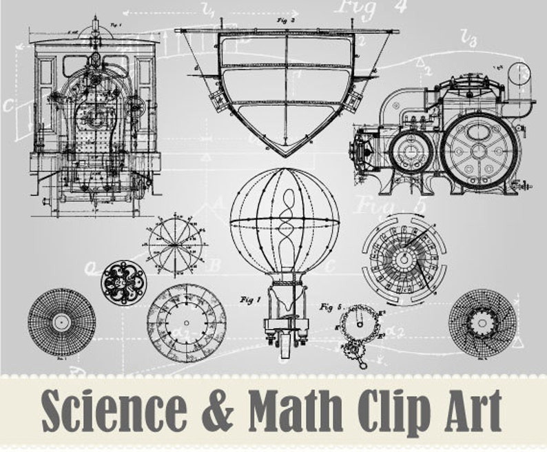 NEW 15 Vintage Science & Math  Drawings Clip Art Collection  image 0