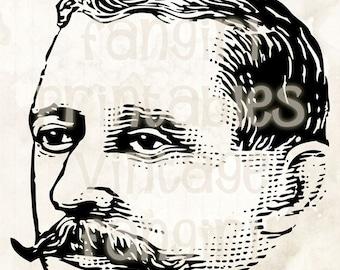 Vintage Handlebar Moustache Man Clip Art - Digital JPGs & PNG Instant Printable Download