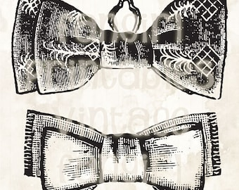 Vintage Manly Bow Ties Printable Clip Art - Digital JPGs & PNG High Res Image Download