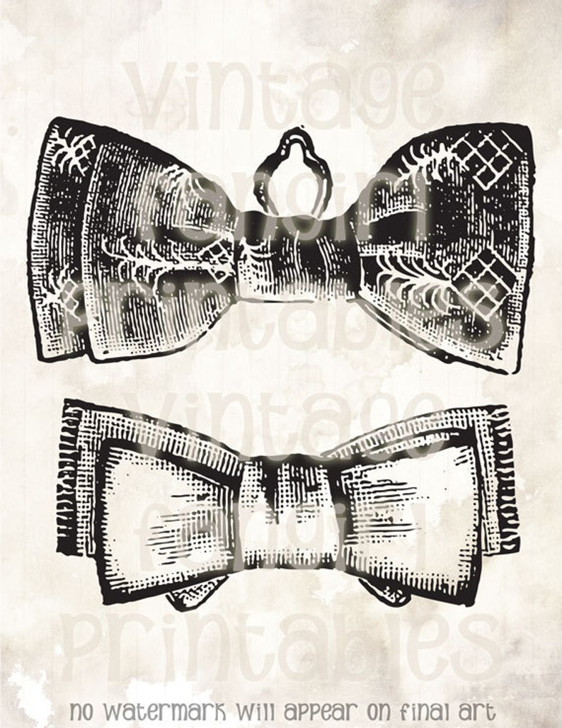 Vintage Manly Bow Ties Printable Clip Art  Digital JPGs & PNG image 0