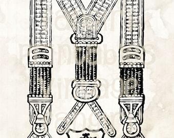 Old Fashioned Men's Suspenders Vintage Art - Digital JPGs & PNG High Res Image Download