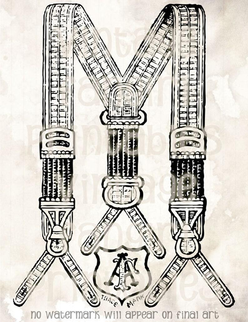 Old Fashioned Men's Suspenders Vintage Art  Digital JPGs image 0