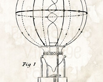 Cool Antique Lightbulb Technical Drawing - Digital JPGs & PNG Instant Clip Art Download