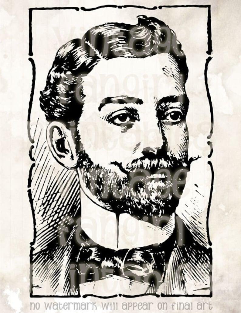 Manly Handlebar Moustache Gentleman Vintage Clip Art  Digital image 0